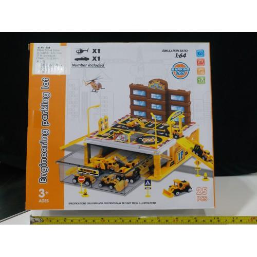 Toyslido 工程車小型停車場套裝 (一層) 特價陳列樣辦玩具 (3歲以上適用)