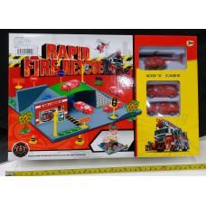 Toyslido 消防車中型停車場套裝 特價陳列樣辦玩具 (3歲以上適用)